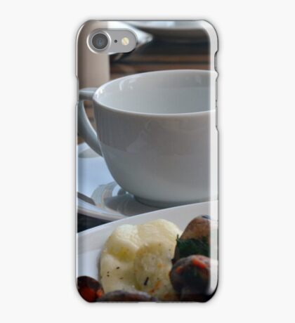 Lunch with pasta, bread, vegetables and coffee cup. iPhone Case/Skin