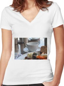 Lunch with pasta, bread, vegetables and coffee cup. Women's Fitted V-Neck T-Shirt