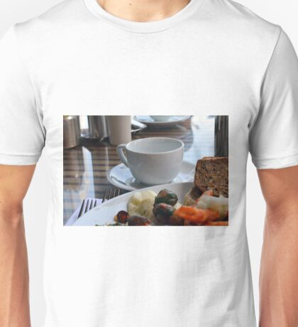 Lunch with pasta, bread, vegetables and coffee cup. Unisex T-Shirt