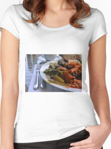 Healthy lunch with beans, vegetables, pasta. Women's Fitted Scoop T-Shirt