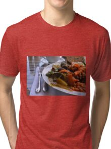 Healthy lunch with beans, vegetables, pasta. Tri-blend T-Shirt