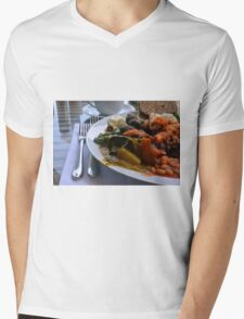 Healthy lunch with beans, vegetables, pasta. Mens V-Neck T-Shirt