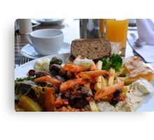 Lunch with pasta, bread, vegetables and orange juice. Canvas Print