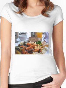 Lunch with pasta, bread, vegetables and orange juice. Women's Fitted Scoop T-Shirt
