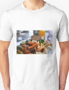 Lunch with pasta, bread, vegetables and orange juice. Unisex T-Shirt