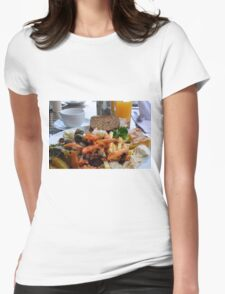 Lunch with pasta, bread, vegetables and orange juice. Womens Fitted T-Shirt