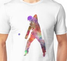 Cricket player batsman silhouette 02 Unisex T-Shirt