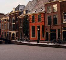 Frozen Canal, Leiden, Holland Sticker