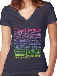 Harry potter magic spells Women's Fitted V-Neck T-Shirt