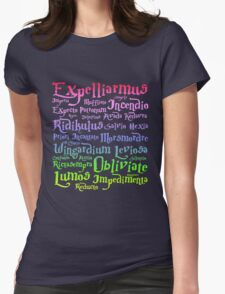 Harry potter magic spells Womens Fitted T-Shirt