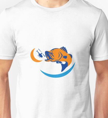 Barramundi Jumping Helicopter Retro Unisex T-Shirt