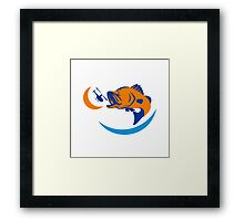 Barramundi Jumping Helicopter Retro Framed Print