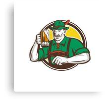 Oktoberfest Bavarian Beer Drinker Circle Retro Canvas Print