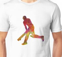 Cricket player batsman silhouette 03 Unisex T-Shirt