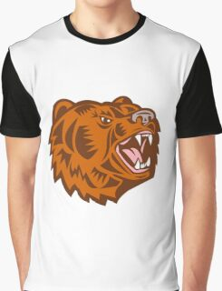 California Grizzly Bear Head Growling Woodcut Graphic T-Shirt