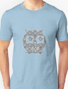 Black and White Floral Owl T-Shirt