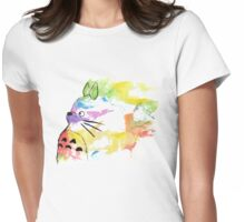 Rainbow  totoro Womens Fitted T-Shirt