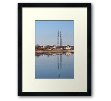 high voltage reflection in the river Framed Print