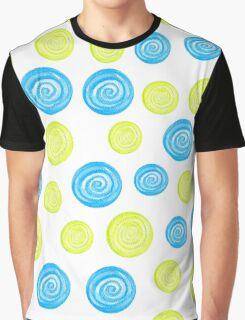Hand-drawn blue and green circles randomly distributed Graphic T-Shirt