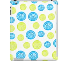 Hand-drawn blue and green circles randomly distributed iPad Case/Skin