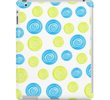 Hand-drawn blue and green circles randomly distributed iPad Case/Skin
