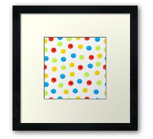 Watercolor seamless pattern of blue, yellow, green and red circles randomly distributed Framed Print