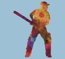 Cricket player batsman silhouette 07 Kids Tee