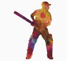 Cricket player batsman silhouette 07 One Piece - Short Sleeve