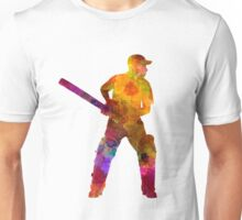 Cricket player batsman silhouette 07 Unisex T-Shirt