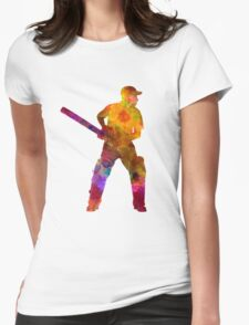 Cricket player batsman silhouette 07 Womens Fitted T-Shirt
