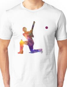 Cricket player batsman silhouette 08 Unisex T-Shirt