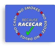 No Booze, Drugs, Smokes, Cash: Because Racecar - Hoodie / Tee - White no bkg Canvas Print