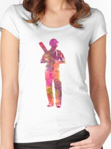 Cricket player batsman silhouette 10 Women's Fitted Scoop T-Shirt