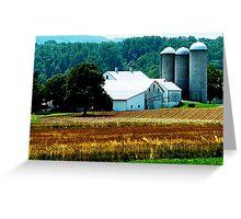 Farm With White Silos Greeting Card