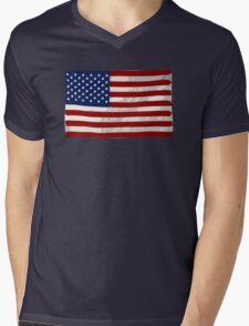 USA flag, block colour design (United States of America) Mens V-Neck T-Shirt