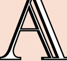 1920s Pink Champagne Gatsby Monogram letter A Sticker