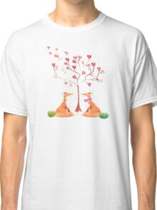 Foxes under a love tree Classic T-Shirt