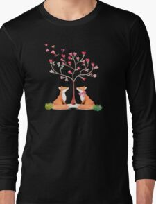 Foxes under a love tree Long Sleeve T-Shirt