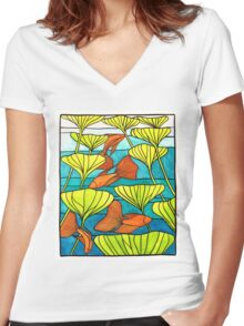 Siamese Fighting Fish Stained glass Women's Fitted V-Neck T-Shirt