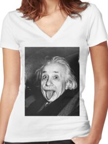 Einstein - ONE:Print Women's Fitted V-Neck T-Shirt