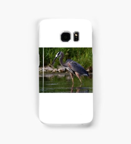 Great Blue Heron catches fish Samsung Galaxy Case/Skin