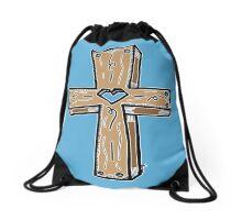 Wooden Cross - BLUE! Drawstring Bag
