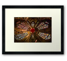 Leaded panes of Sainte George church of Selestat, little planet panoramic effect, space curvature Framed Print