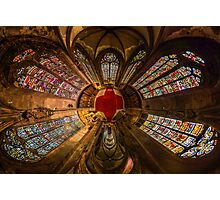 Leaded panes of Sainte George church of Selestat, little planet panoramic effect, space curvature Photographic Print
