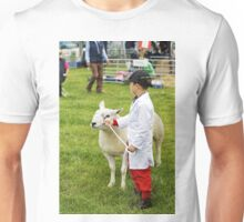 A young boy waits for his sheep to be judged Unisex T-Shirt