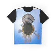 Medieval castle Spesbourg little planet. Corvature of space effect. Touristic concept. Graphic T-Shirt