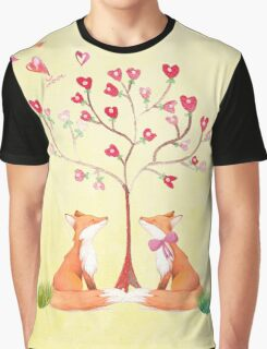 Foxes under a love tree Graphic T-Shirt