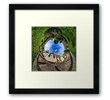 Chapelle Sainte Sebastien little planet. Curvature of space. Touristic concept. Framed Print