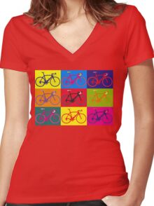 Bike Andy Warhol Pop Art Women's Fitted V-Neck T-Shirt