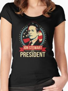 jon stewart president Women's Fitted Scoop T-Shirt